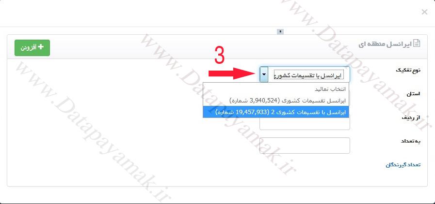 نحوه ارسال پیامک منطقه ای ایرانسل