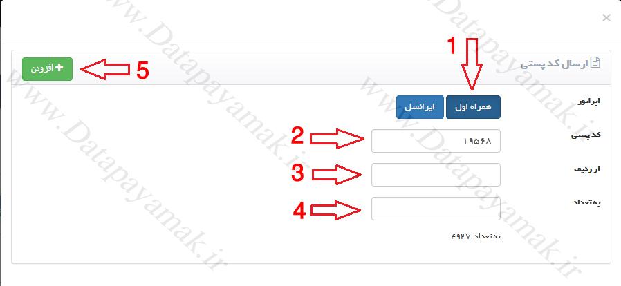 نحوه ارسال پیامک به کد پستی همراه اول و ایرانسل